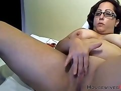 Booty grandma bbc lover with sexy glasses masturbates