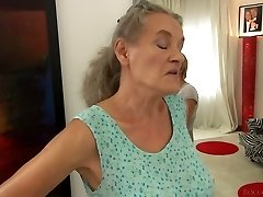 Brief haired gal Tricia Teen fucks a grannie and a horny man in 3some