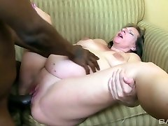 Ugly pregnant blond haired whore rails and deep throats massive black cock