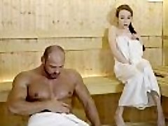 RELAXXXED - Rock-hard tear up at the sauna with attractive Russian honey Angel Rush