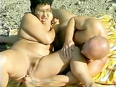 Grandmother gets banged at the beach