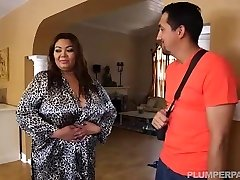 Chesty Phat Asian Model Gets Massage from Latin