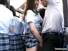 Thirsty Japanese school woman screwed on a crowded bus