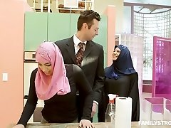 Big breasted lustful hijab nympho Ella Knox gets hairy pussy fucked mish