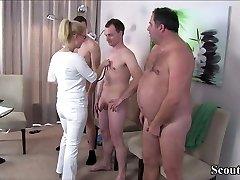 German Cougar Nurse fuck with Trio Stranger at Pattern