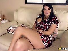 Stunning British milf Kylie K showcases off her plump ass upskirt