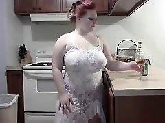 Super-naughty Redhead BBW striping on Webcam