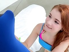 Young smallish ginger-haired taking a big cock