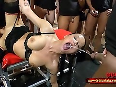 Dirty brunette tart used as a toilet in a huge gangbang