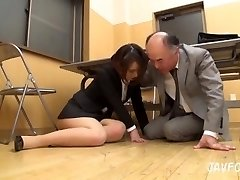 Japanese Cougar butt groped in the office! her old boss wants some new pussy
