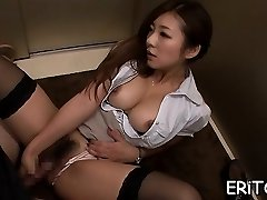 Oriental girl gets her throat filled with a good-sized wood