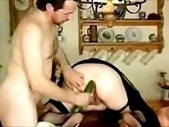 Cuck husband ram Cucumber in hefty asshole