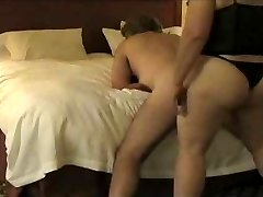 BBW fucking husband with a strapon