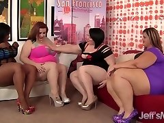 Four chubby leabians steaming hot sex