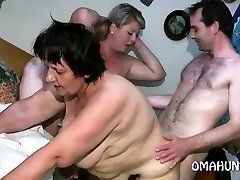 Horny mom loves lesbian fun in sofa