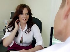 Mature hungry boss mouth fucks good-sized breasted brunette strumpet in his office hard