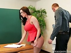 Insane secretary with big breasts Kendra Lust fucked on the table by Richie Black
