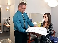 Spoiled chick Bambi lures her stepfather in his office