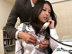 Awesome kawaii Japanese office slut sucks two strong knobs at work