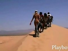 Enormous rack stunners tries out sand boarding