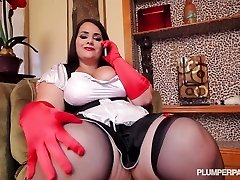 Full figured maid takes black weenie to the max