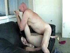 Gigantic Ass Babe Banged On Couch by Old Man