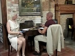 Ash-blonde mature has fun away from the party