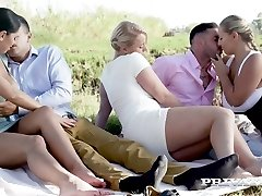Russian bombshell Kira Queen exchanges her BF with curvy nympho for swinger penetrate