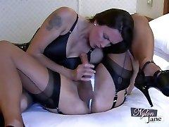 Nylon Jane gargles impressive big cock before fuckin TGirl ass