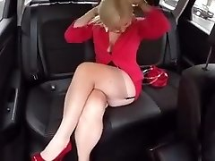 In the Car with Malene in FF stockings mini mini-skirt High Heels