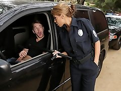 Latina officer caught on a fellow jerking off in his car!