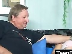 Platinum-blonde Nubile With A Fat Old Guy