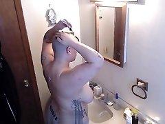 Bbw Fresh Head Shave and Shower Voyeur