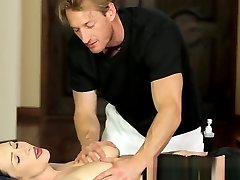 Big-titted massage babe pussyfucked by ginormous cock