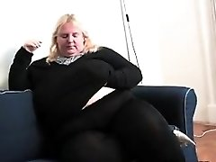 Large Blonde Woman Masturbates At Home