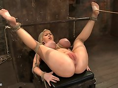 California Blond With Huge Jugs Has Them Strapped To Her Knees  Spreadmade To Squirt  Scream - HogTied