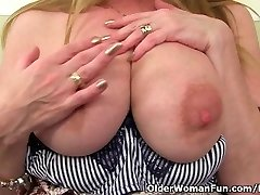British milf Lily pounds herself with a dildo