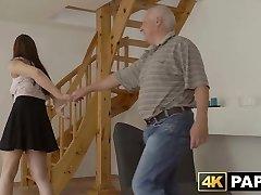 Redhead babe cheats on boyfriend with his big dick dad