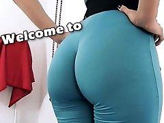 Amazing Body Brunette Babe Exposing Cameltoe, Large Ass Yoga