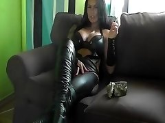 German Smoking Fetish Mistress Ashtray+Spitting in Black High Heels Leather
