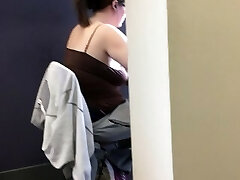 20yr old braless lush in the library