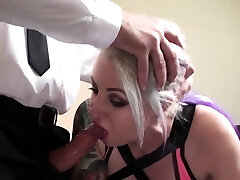 Plumper mature milf sex slave gets her face and feet jizzed