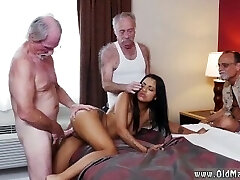 Riding aged man and old grannie lesbian with big boobs and old mature fuck