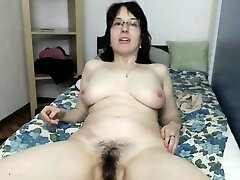 Chubby Cougar Double Penetrates Hairy Pussy And Ass