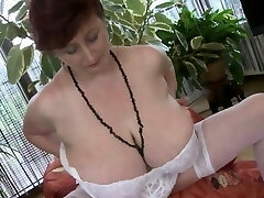 Immense mature with huge juggs strips and maturba