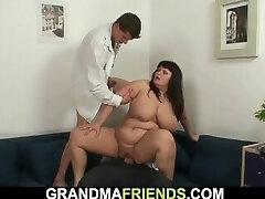 Chubby yam-sized boobs mom threesome orgy