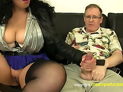 Anatasia Lux - thick thighs in skirt pokes old guy