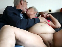 Fat old grandma kissing