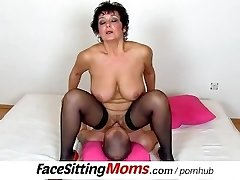 Monstrous natural tits lady Greta with a boy czech facesitting