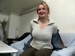 Plump mature blonde female gives interview and peels off